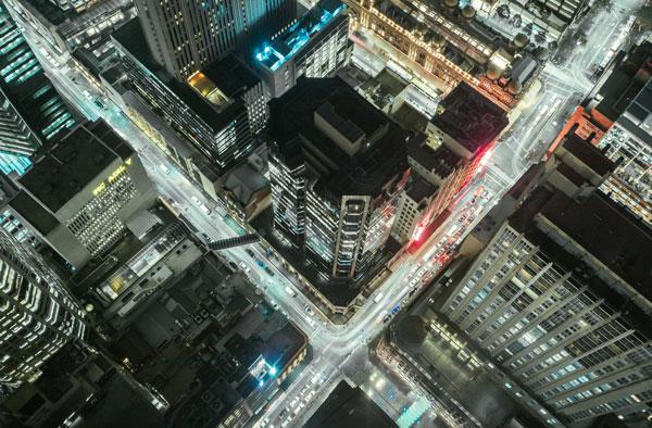 City traffic overhead